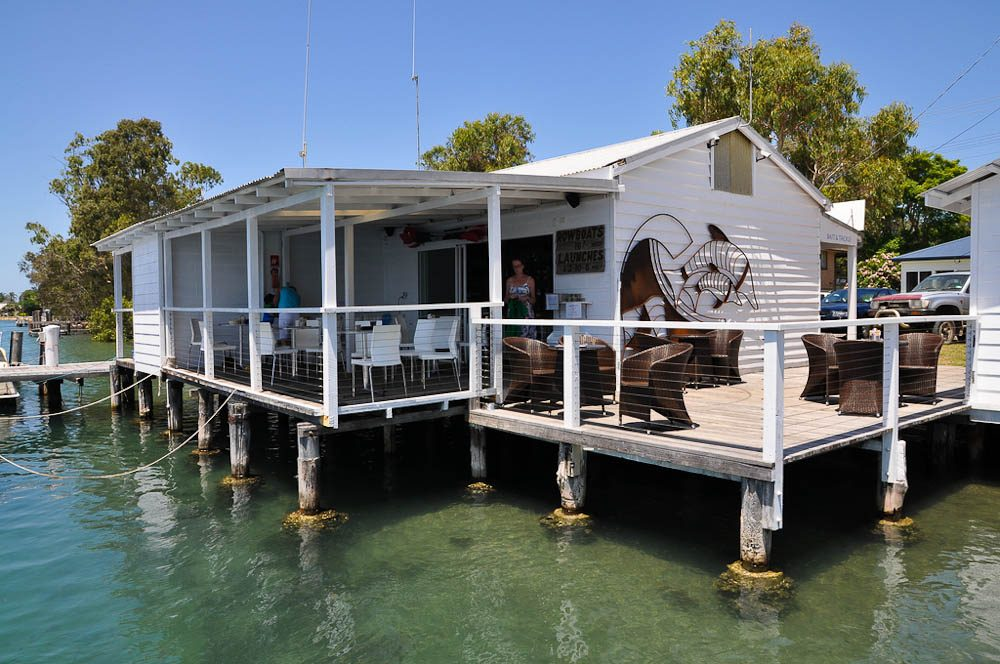 Dunbogan Boatshed, dating from the 1940s, is great for a coffee nowadays.