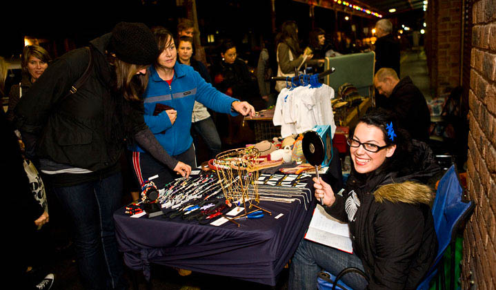 Local craftspeople show off their homemade wares lined up down Coventry St.