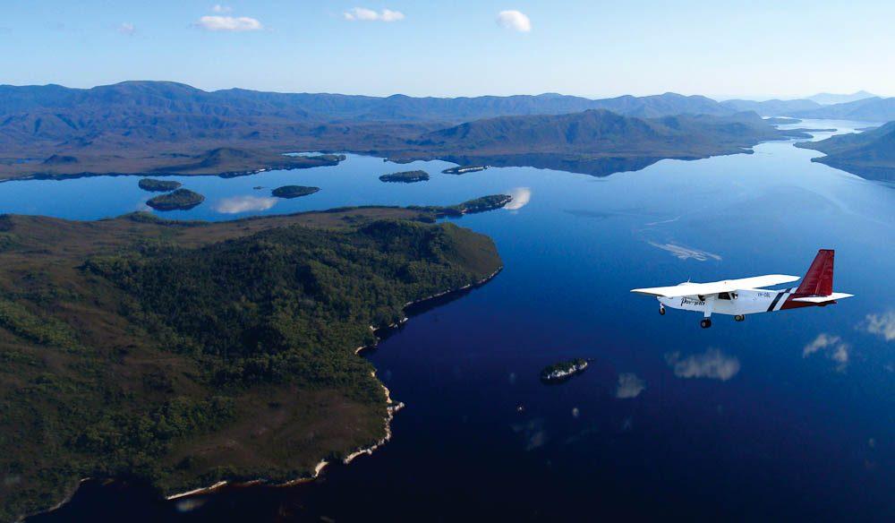 Wilderness flight: Near Port Davey Wilderness Camp, Tasmania.