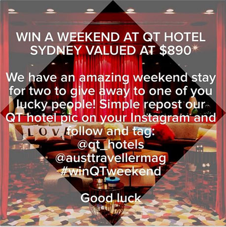 QT Sydney Instagram competition
