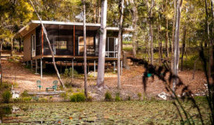 Tranquility: One of four new eco pavilions at Mt Cotton Retreat in the Gold Coast's hinterland.