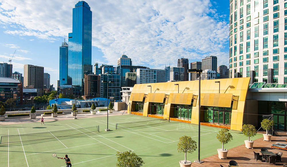 Tennis anyone? If you have the will power to drag yourself away from your room... Crown Towers, Melbourne.