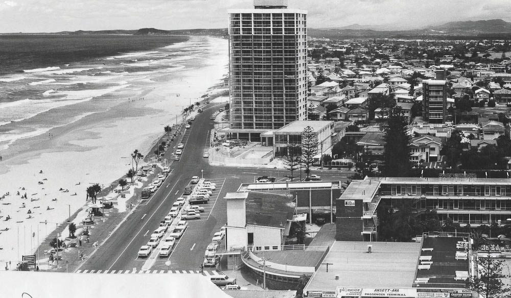 Looking along Surfers Paradise (towards Burleigh Heads) just as it was becoming the surfers' paradise.
