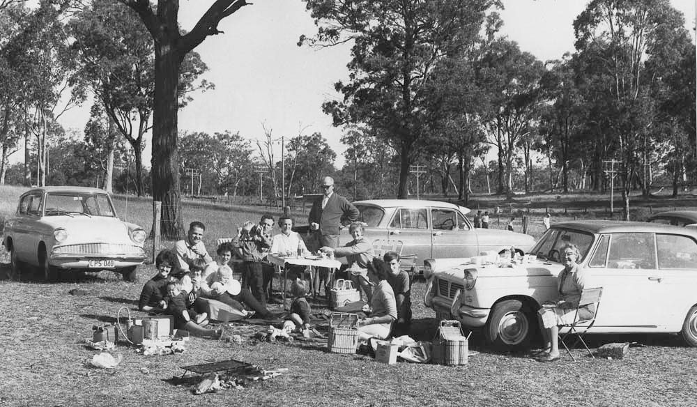 Picnic Aussie style: Family barbecues in the bush were 'in'.