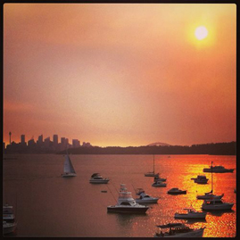 Bushfire-tinged view from Watsons Bay Boutique Hotel, Sydney.