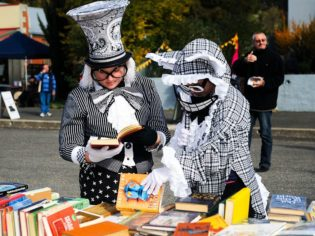 Mad Hatters are the norm at the Booktown festival in Clunes, Victoria (Jesse Booher).