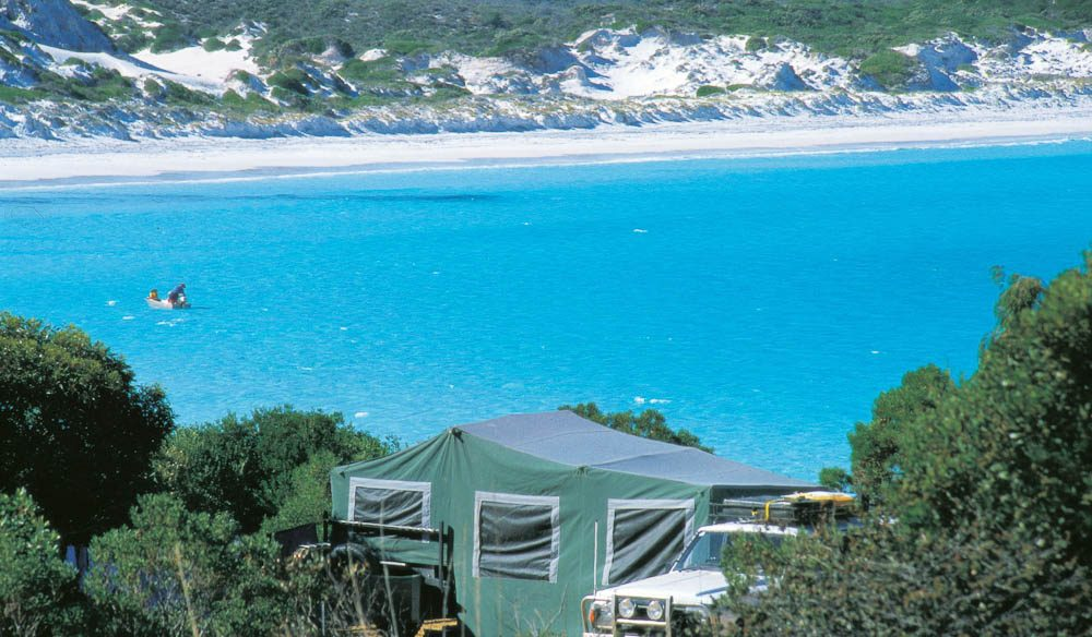 Not a bad way to wake up... the view over Lucky Bay campsite, Cape Le Grand National Park.