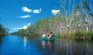Gentle canoeing of Lake Cootharaba, QLD.