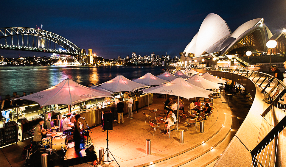 A bevvy in the backyard - Sydney's harbour is a superb backdrop at Opera Bar