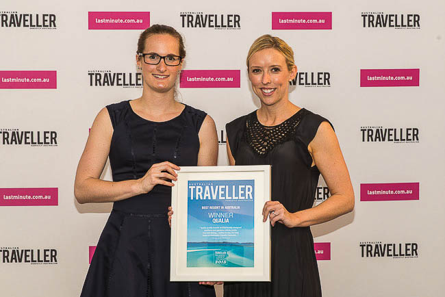 Kelsey Hodges and Christine Mayne accept on behalf of qualia (Best Resort).