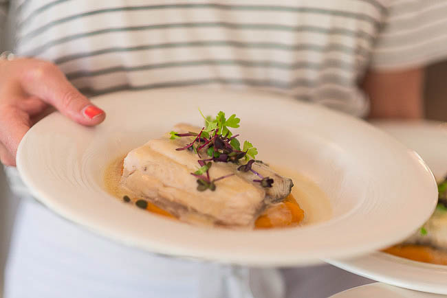 Menu by Pete Evans: Steamed cone bay barramundi fillet with lime and coconut, ginger and mashed sweet potato.