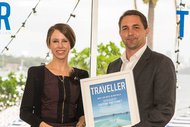Justin King, GM Federal Group (Saffire Freycinet), with LastMinute.com.au's Gemma Christie.