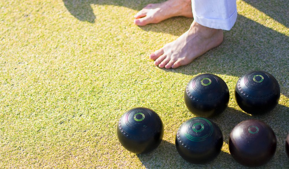 Careful now! Barefoot bowling is a chance to let loose on the pitch