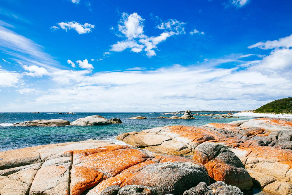 The Bay of Fires is an important Aboriginal site – historic evidence of their occupation can still be seen along the coastline, including Abbotsbury Beach