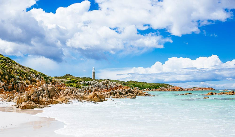 Eddystone Point Lighthouse marks the start of the Bay of Fires