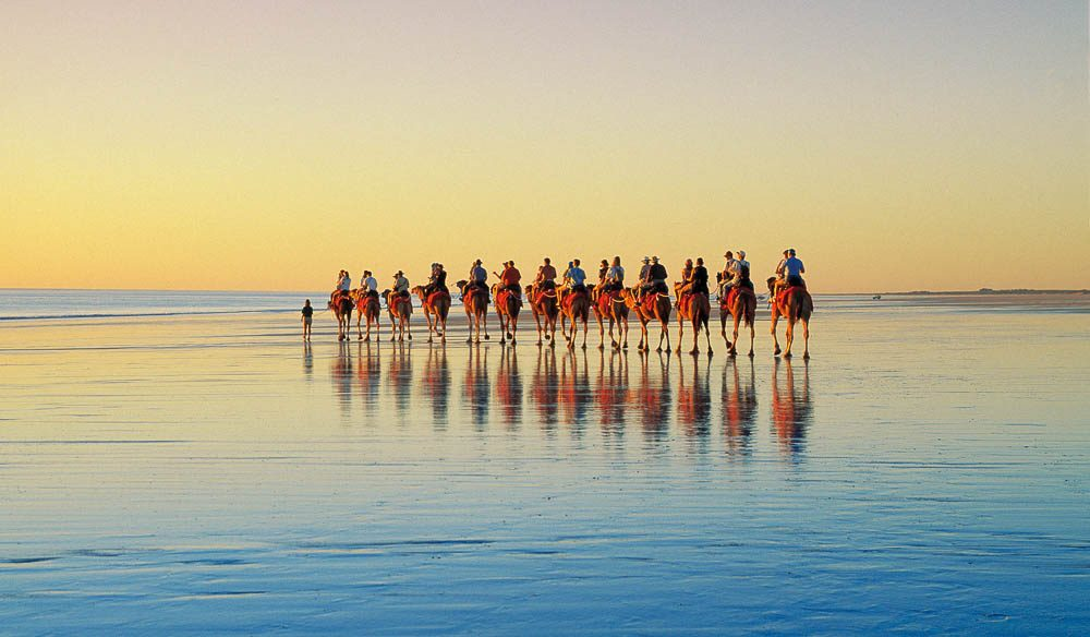 Sunset camel safari on Cable Beach.
