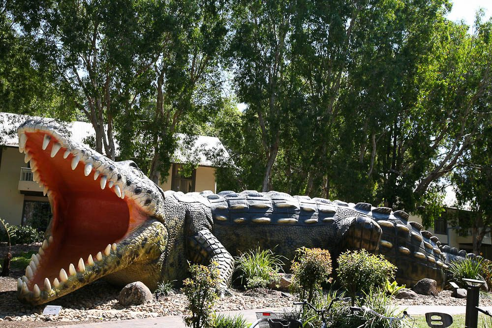 Another Clive surprise: A 20-metre concrete crocodile guards the entrance to the Village Square.