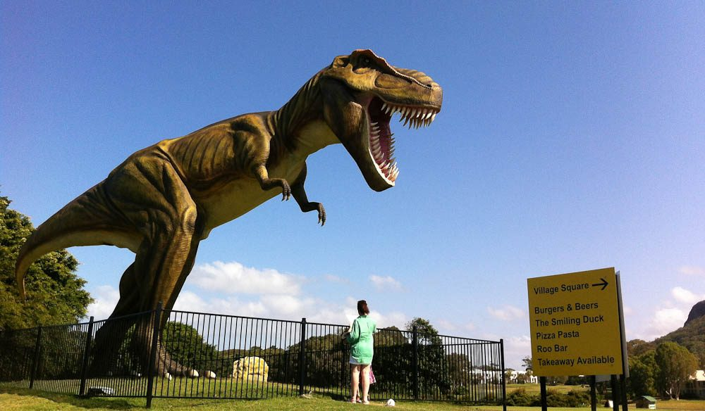 Roaring Understatement: Jeff the animatronic T-rex surveys Palmer Coolum's immaculate (former PGA ) golf course and club house.