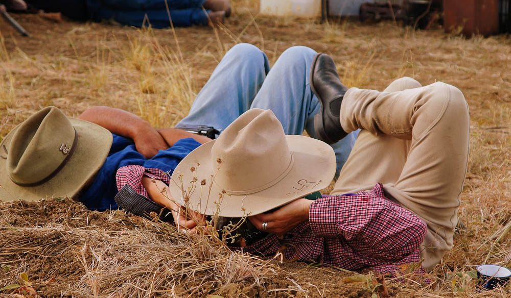 Horse mustering is a tough gig – these cowboys take a nap.
