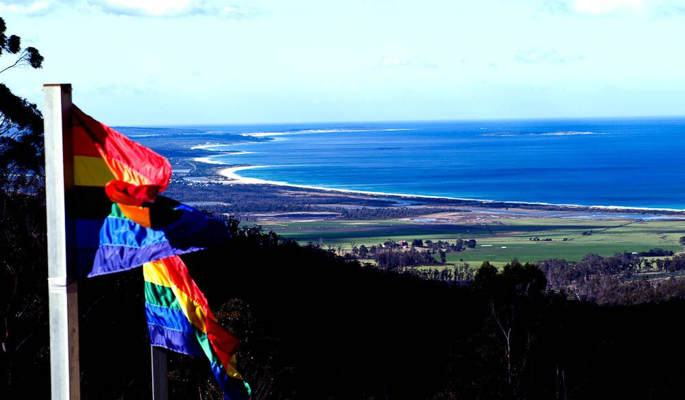 Sweeping views from off-the-grid Rainbow Retreat, St Marys, Tasmania.