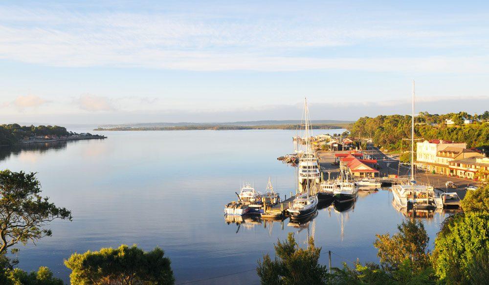 Strahan village and waterfront (photo: Tourism Tasmania & Rob Burnett).