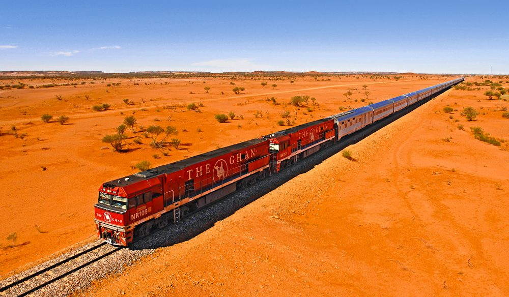 The Ghan parting the outback landscape.