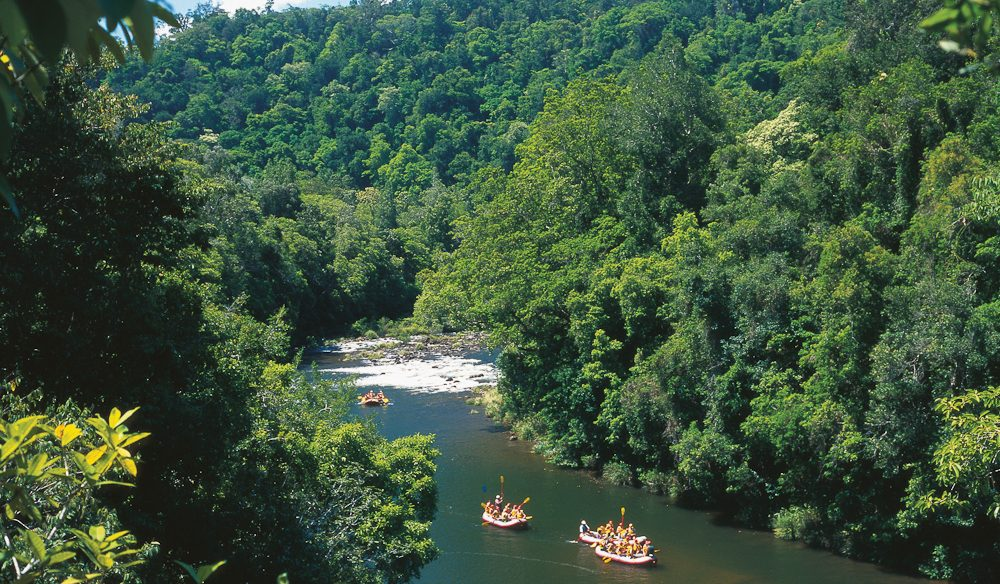Using the tropical rains to your advantage: White Water Rafting on Tully River.