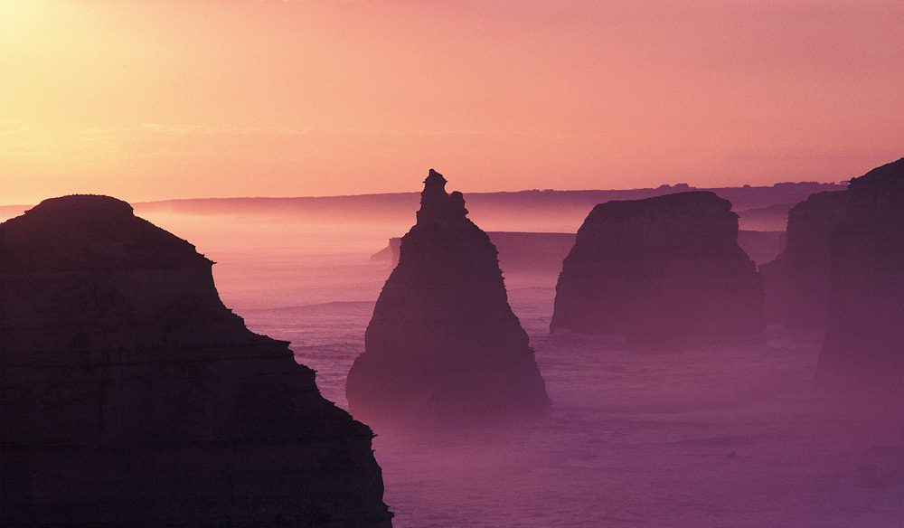 The Great Ocean Road's 12 Apostles standing to attention at sunset.