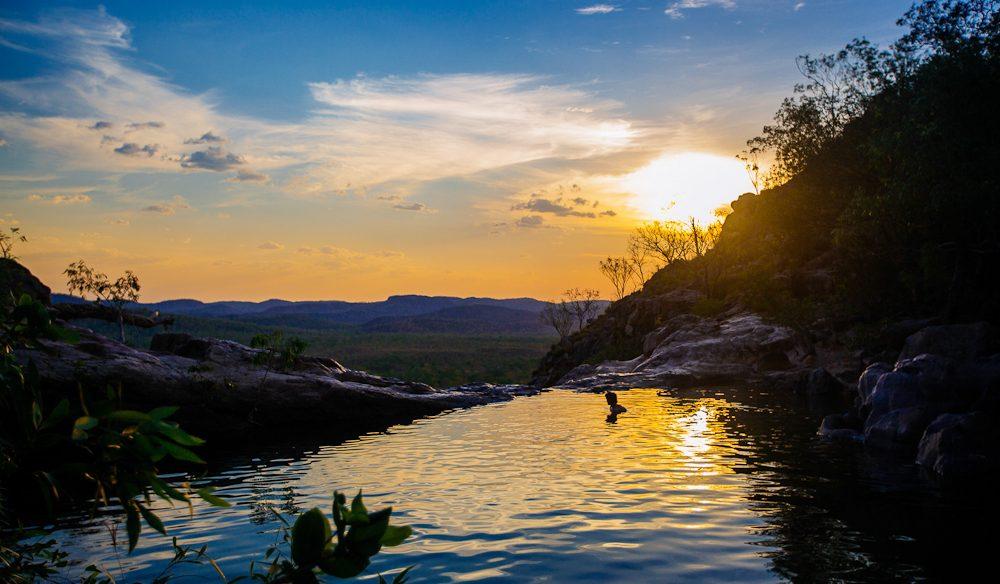 Sunset bath: Gunlom (Waterfall Creek), Kakadu National Park, NT