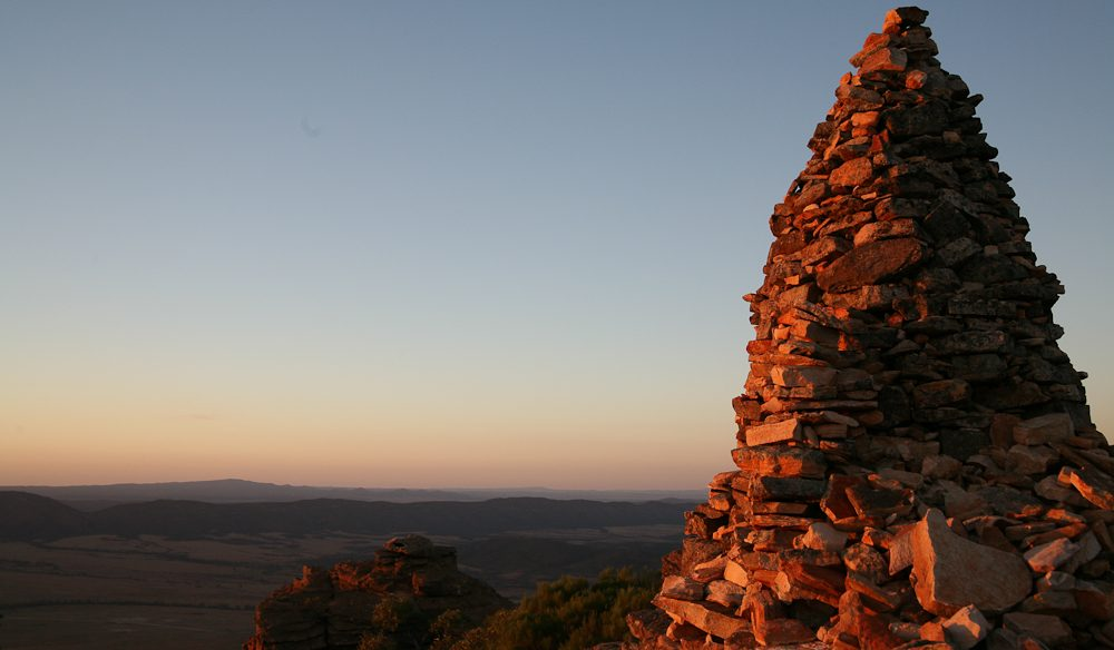 Flinders Ranges sunrise, overlooking Rawnsley Park Station, from the rim of Wilpena Pound.