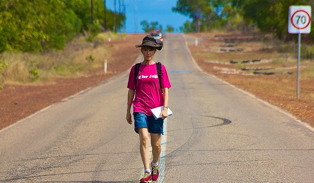 Peta Burton following the long white while from Cairns to Cape York under her own steam - all for her breast cancer charity.