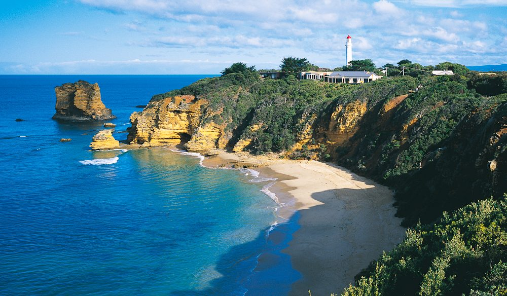 A helicopter flight is a great way to a new perspective on secluded spots such as Cape Otway.