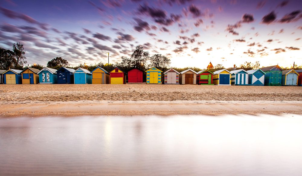 AT reader Brett Florence waded into the water for this novel perspective of the iconic Brighton Beach bathing boxes.