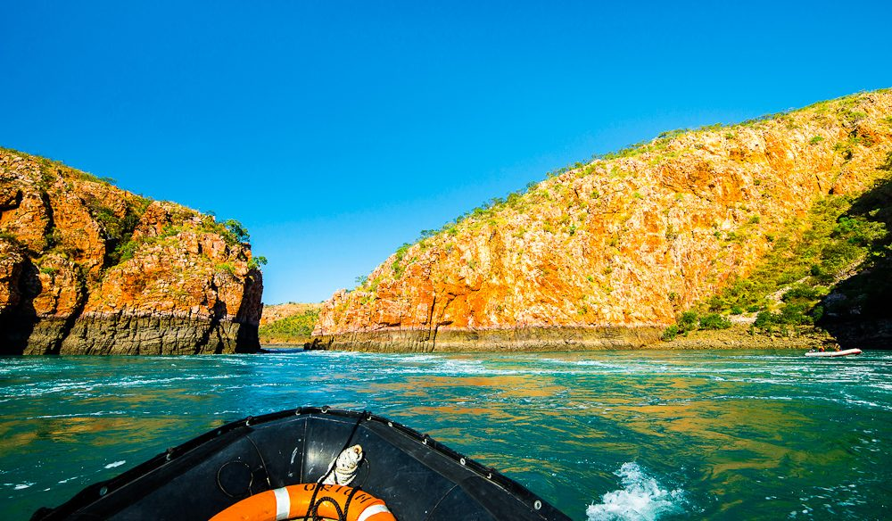 Zodiac boats head into the Horizontal falls at full throttle to avoid the powerful tidal currents