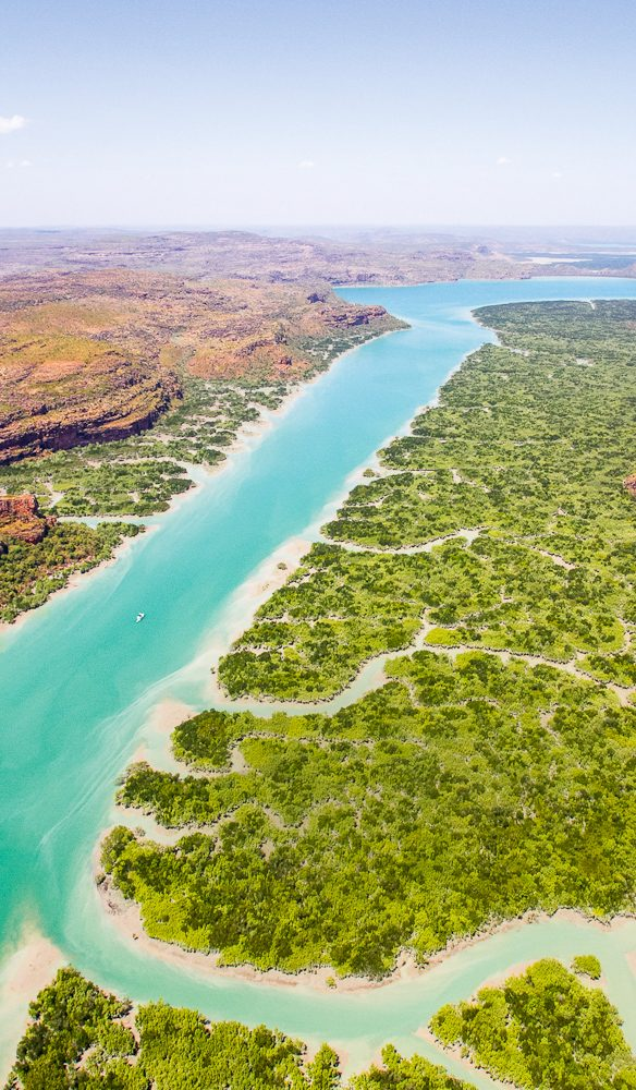 Aqua waters of the Hunter River in the Kimberley, are most spectacular from the air