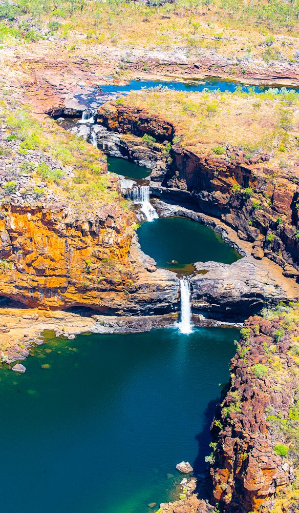 The Mitchell Falls chopper flight allows for spectacular aerial views of the Falls in the Kimberley