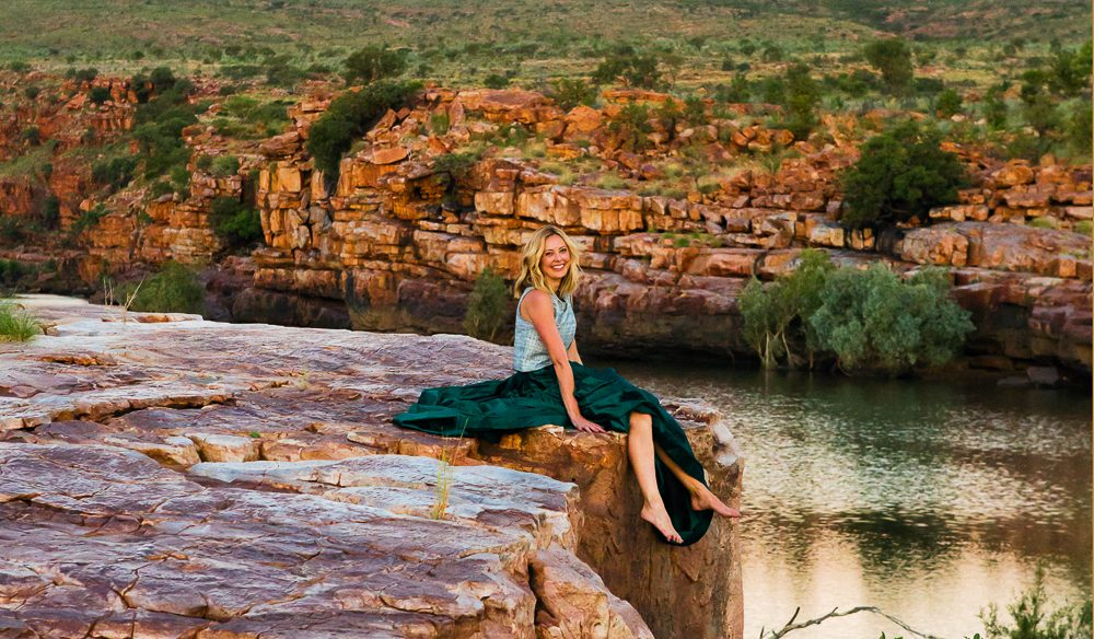 The sunsets at Sir John Gorge really are something else. Allison Langdon's top by LIFEwithBIRD, $295 and skirt by Lobelia Couture, $1300