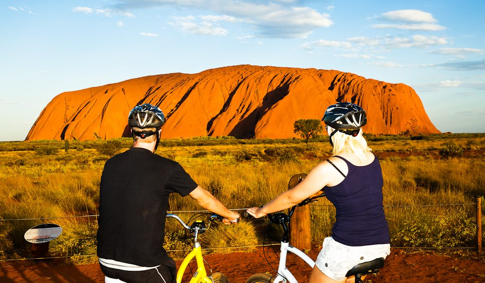 A leisurely cycle around Uluru with Outback Cycling.
