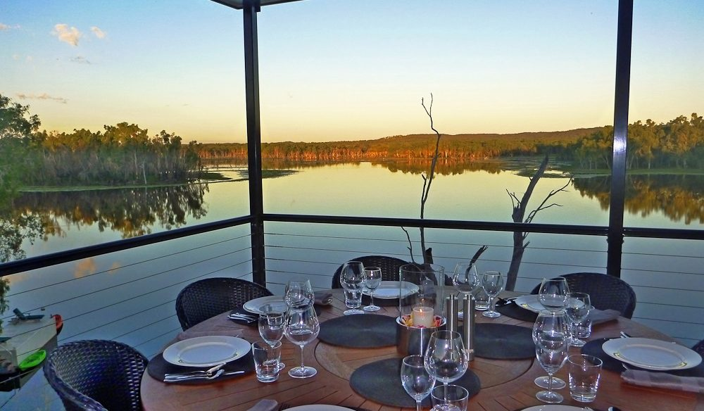 Lakeside dining: On the deck at Crystalbrook Lodge.
