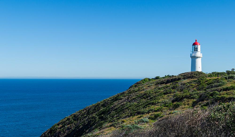 Lighthouse at Cape Schanck perched overlooking Bass Strait