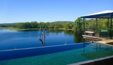 Looking out from Crystalbrook Lodge to Crystalbrook Lake.