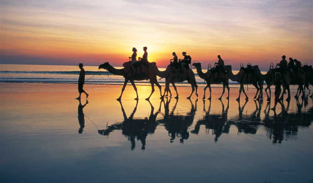 Slow Broome's Cable Beach sunset camel ride