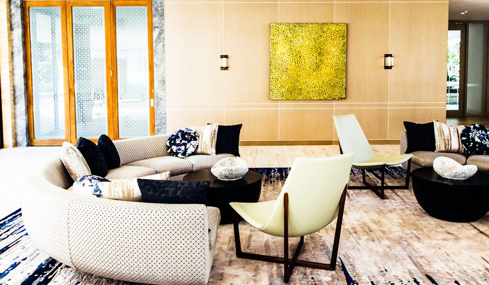 Sip sparkling coconut water in style in this cosy reception area at the One and Only.