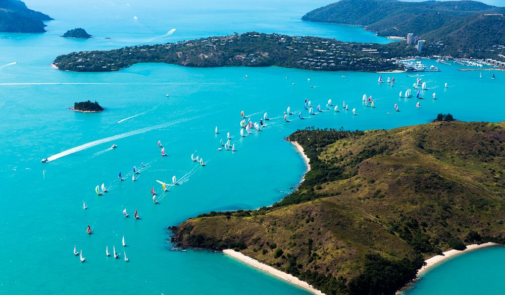 The fleet heads out into the Whitsundays: Audi Hamilton Island Race Week.