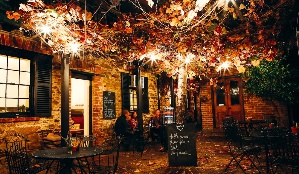 Cuddle up in the intimate courtyard at Alby & Esthers Mudgee