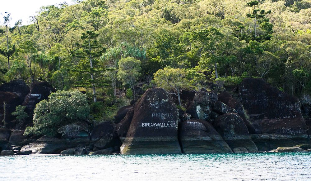 Sailors' graffiti on Nara Inlet in the Whitsundays is said to include the name 'Sirocco' scratched into the rock by none other than Errol Flynn.