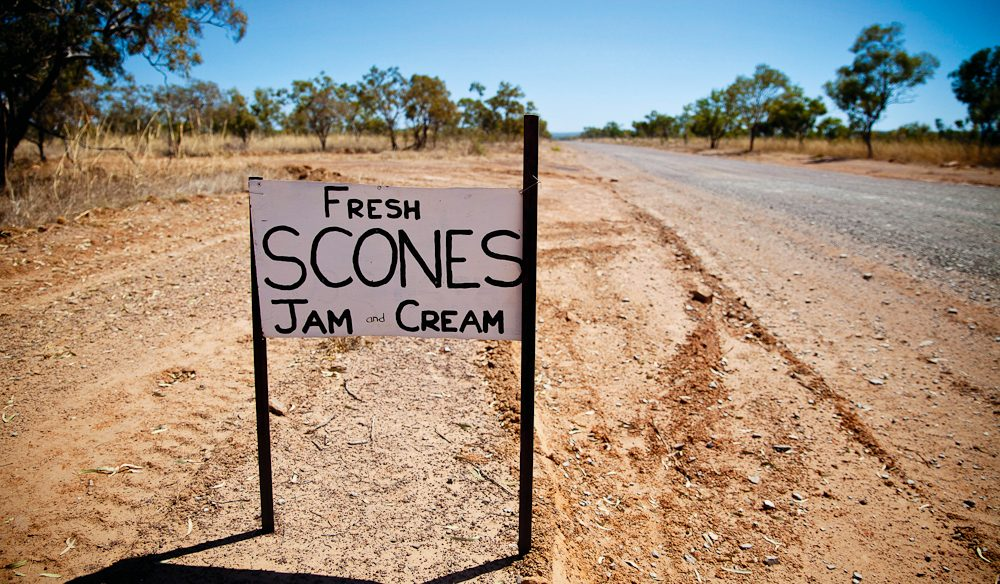 Don't miss the turnoff for Ellenbrae's scones and jam, Gibb River Road, Kimberley.