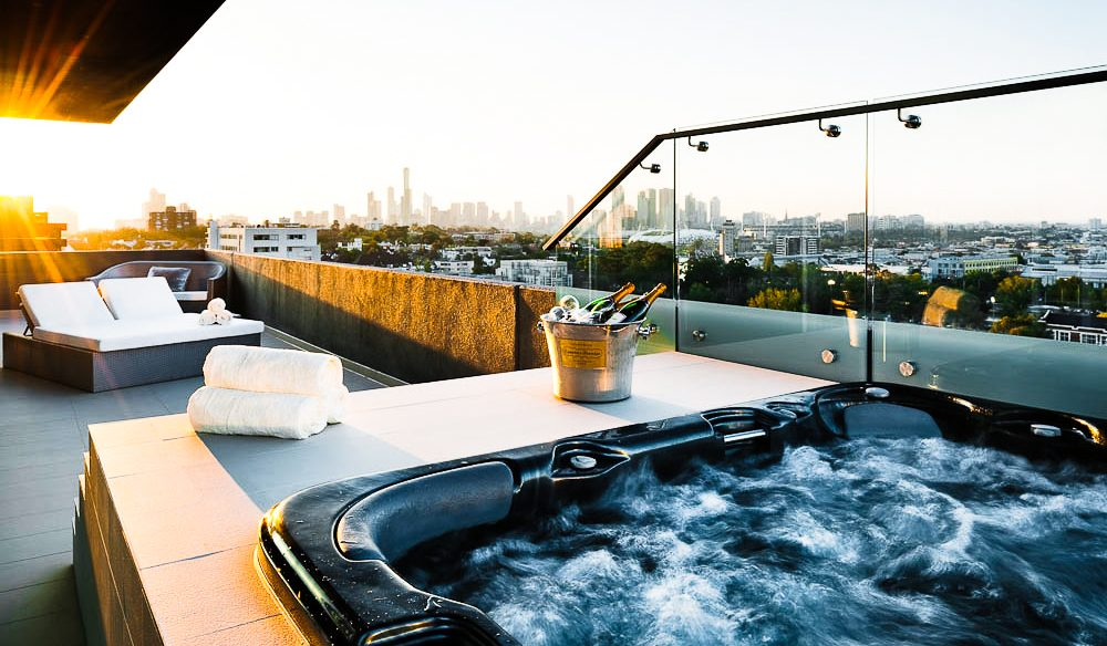 The Olsen spa's eye view over Melbourne's CBD.