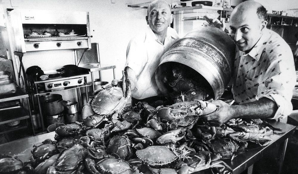 Mud crabs galore at Gambaro Seafood Restaurant, Brisbane: Domenico Gambaro (left) and Mr Michael Gambaro.