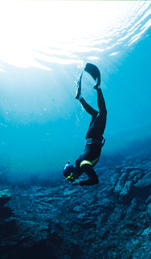 Freshwater perspective: Cave Diving, Ewens Pond, Mount Gambier, South Australia.